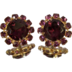 Beautiful Vintage Purple Crystal Rhinestone Earrings