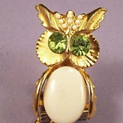 Vintage Owl Brooch Pin Milk Glass and Rhinestone