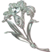 ART DECO Rhinestone Floral Flower Brooch