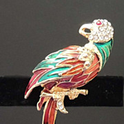 Vintage Parrot Bird Brooch with Green Blue Red Enamel and Rhinestones