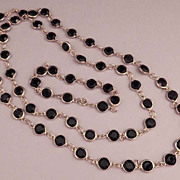 Bezel Set Black Crystal Chain Necklace and Bracelet Set Vintage