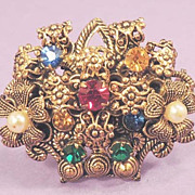 Vintage Flower Basket  Austrian German Rhinestone Brooch