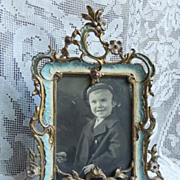 Ornate Antique Art Nouveau Floral Enamel Brass Photo Picture Frame