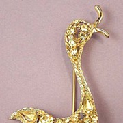 Vintage Goose Pale Yellow Crystal  Brooch - Wonderful!