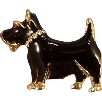 Vintage Scottie Black Enamel Rhinestone  Brooch Pin