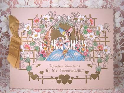 1929 VALENTINE 1929 Hand Colored Card