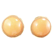 Lucite Vintage Gold and Squash Color Button Earrings