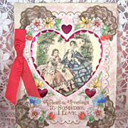 VALENTINE Vintage 1920's Hand Colored Card In Box