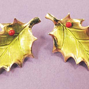 Dainty Vintage Enamel Holly Berry Leaf Christmas Earrings