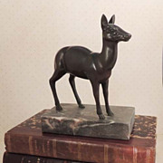 French BRONZE Art Deco Doe Deer Statue on Marble Vintage