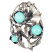 Beautiful Vintage Floral Turquoise Bead Flower Brooch