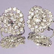 Elegant Button Bridal Vintage Rhinestone Earrings