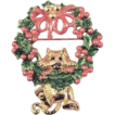 AJC Enamel Cat and Christmas Wreath Brooch