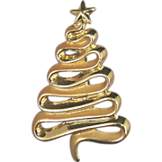AJC Gold Tone Ribbon Christmas Tree Brooch Pin