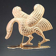 ALVA Museum Reproduction Vintage Gold Water Fowl Brooch Signed
