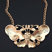 Vintage ALVA MUSEUM Replica Gold Butterfly Moth Pendant Necklace Signed