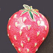 ARPEL Signed Vintage Juicy STRAWBERRY Fruit Red Enamel and Rhinestone Brooch