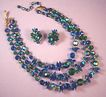AUSTRIAN Vintage Aurora Borealis Emerald Green & Peacock Blue Crystal Necklace & Earrings