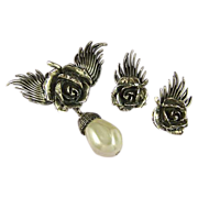 BOTTICELLI Vintage Silvertone Rose & Baroque Pearl Brooch and Earrings Set Signed