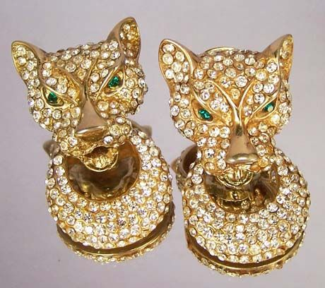 BIJOUX CASIO Vintage Panther Rhinestone Earrings - Runway Fabulous!