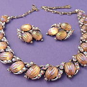 CORO Vintage Gold Iridescent Carnival Glass Necklace Set Signed RARE