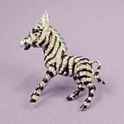 SOLD CINER Zebra Brooch Vintage Signed Striped Black Enamel White Rhinestones
