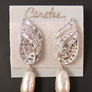 CAROLEE Vintage Signed Baroque Pearl Rhinestone Earrings