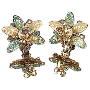 CATHE Vintage Floral Rhinestone Earrings
