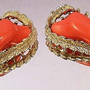 CORO Vintage Persimmon Lucite Earrings Signed