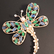 SOLD Christian Dior Dragonfly Brooch with Pearls Rhinestone Blue Green Glass - Signed