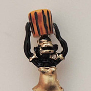 BAKELITE Vintage Blackamoor Figural Tribal Woman with Basket Brooch By Charles F Worth