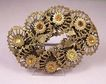 CZECH Vintage 1920's Brass & Rhinestone Flower Brooch Pin
