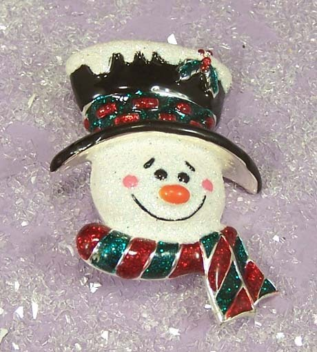 DANECRAFT Vintage Enamel Snowman Pin