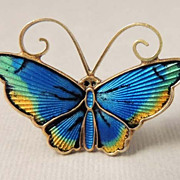 DAVID ANDERSEN Norway Butterfly Brooch with Sterling Silver and Blue Enamel Guilloche Vintage