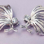 EMMONS Vintage Silver Tone Leaf Rhinestone Earrings Signed