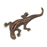 EMMONS Vintage Lizard Ruby Red Rhinestone Brooch