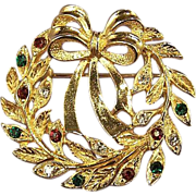 EISENBERG ICE Vintage Rhinestone Christmas Wreath Brooch Pin