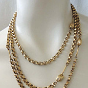 "FREIRICH Vintage Textured 59"" Gold Chain Necklace Classic Elegance"