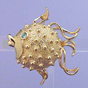 FULLER BRUSH Fish Solid Perfume Brooch Vintage Signed