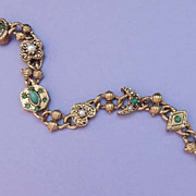 GOLDETTE Vintage Green and Pearl Link Charm Bracelet