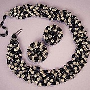 WEST GERMAN Vintage Black & Clear Glass Bead Necklace and Earrings Set