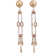 GIVENCHY Vintage Duster Runway Pearl Drop Earrings - Signed Spectacular