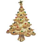 GERRY'S Vintage Christmas Tree Brooch With Multicolor Balls