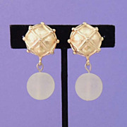 GIVENCHY Vintage Signed Gold and Lucite Ball Earrings
