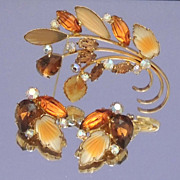 Stunning WEST GERMAN Signed Vintage Yellow and Amber Leaf Brooch and Earrings Set