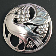 SOLD GEORGE JENSEN Classic Vintage Sterling Dove Bird Brooch Mark 53 - Signed