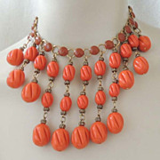 HOBE Haute Couture Earthy Orange Lucite Cascading Bead Necklace Vintage Signed and Magnificent