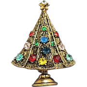 HOLLYCRAFT Jewel Color Rhinestone Vintage Christmas Tree Brooch Signed