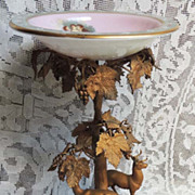 SOLD Antique Deer and Grapes Iron Pedestal with Porcelain