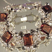 JULIANA Stunning Vintage Statement Deep Amber and Crystal Bracelet